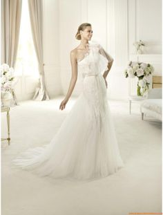 Robe de mariée sirène dentelle avec manteau tulle application de dentelle