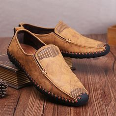 Men Hand Stitching Soft Sole Cap-toe Laze Shoes Slip On Loafers - NewChic Mobile.