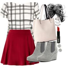 """Lydia Inspired Outfit with a Red Skater Skirt"" by veterization on Polyvore"
