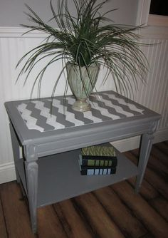 Chevron Striped end table