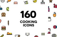 160 Cooking icons by HNINE on Creative Market