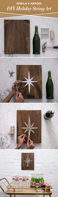 This season, complement your Stella Artois bar cart with your own unique wall art. First, pick a simple geometric design and use nails to create the outline. Then let your creativity shine by using your favorite color of rope, twine or wire to bring your idea to life. With decor and beer that pairs well with the holidays, there's a good chance your guests will enjoy a night to remember.