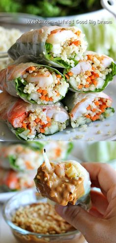 Roasted Shrimp Spring Roll and Spicy Peanut Dip - Best Easy Healthy Lunch Food - WEENII.COM | Life's 1 good big dream