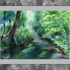 ACEO original  Summer Forest by kirohan on Etsy, $9.00