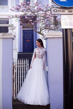 Milla Nova Blooming London Wedding Dresses 2019 - High neck wedding dress with illusion top and floral details Denim Wedding Dresses, Casual Wedding Gowns, Greek Wedding Dresses, Different Wedding Dresses, Wedding Dress Low Back, Unconventional Wedding Dress, Wedding Dresses With Flowers, Luxury Wedding Dress, Wedding Dress Sleeves