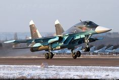 New colours of the new Fullback for the Russian Air Forces! - Photo taken at Voronezh - Baltimor (UUOW) in Russia in January, Air Fighter, Fighter Jets, Su 34 Fullback, Russian Military Aircraft, Russian Plane, Russian Air Force, Sukhoi, Military Jets, Aircraft Pictures