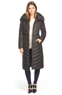 Ellen Tracy Outerwear Maxi Hooded Down Coat - Ruffle Front Detail ...