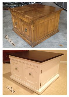 An old and worn end table (originally from Goodwill). Sanded down top, stained, painted bottom, and new knobs from Anthropologie. Makes you look twice at old furniture!