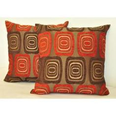 @Overstock - These pillows showcase a multicolor design featuring geometric circular shapes in colors burgundy red, taupe and brown. These throw pillows have a chic solid suede backing for a luxurious touch. http://www.overstock.com/Home-Garden/Sherry-Kline-18-inch-Retro-Red-Brown-Pillows-Set-of-2/6677902/product.html?CID=214117 $39.59