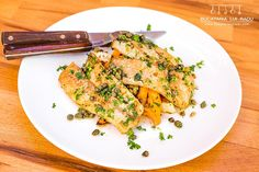A simple enough and easy to make dish. Pair roasted sweet potato and celeriac with this pan fried hake filet in a smooth flavoursome sauce. Celeriac, Lemon Sauce, Roasted Sweet Potatoes, Fish Recipes, Risotto, Seafood, Fries, Bacon, Curry