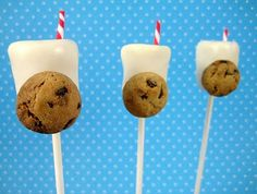 Milk and cookie cake pops <3 - could also do this using jumbo marshmellows. again blue mini candy cane straws