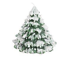 Candela Pino Winter verde e bianco, d 13/h 15 cm
