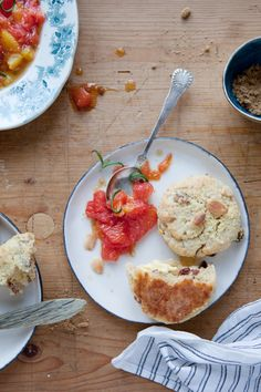 Almond, millet and cheddar scones with Rosemary citrus compote
