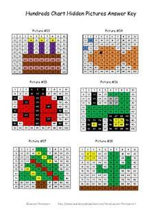"Hundreds Chart Fun Mystery Pictures - cake, fish, ladybug, tractor, christmas tree, cactus, turtle, hat, raincloud, ""Hi"", bluebird, American flag"