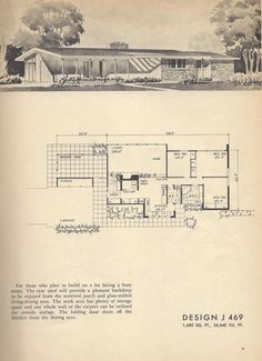 Mid Century Modern House Plans New Plan J 469 Vintage House Plans Vintage House Plans, Modern House Plans, Tiny House Plans, House Floor Plans, Modern Courtyard, Courtyard House Plans, Vintage Architecture, Architecture Plan, The Sims