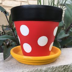 Hand Painted Minnie Mouse Inspired Flower Pot. For Indoor Or Outdoor Use.  Listing Images