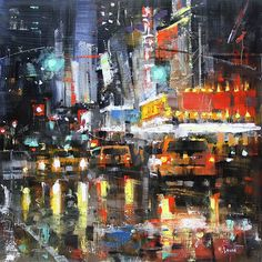 NYC Reflections by Mark Lague Oil ~ 16 x 16