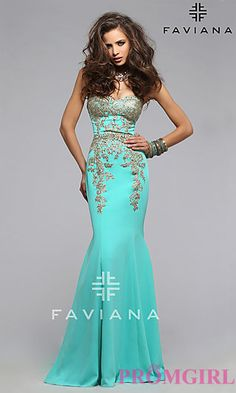 Strapless Sweetheart Faviana Prom Dress with Embroidery at PromGirl.com