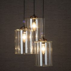 Two medium shades and one large shade hung from metal ceiling fitment. Small Pendant Lights, Wood Pendant Light, Copper Pendant Lights, Pendant Lighting, Glass Wall Lights, Hanging Lights, Retro Light Bulbs, Linen Lamp Shades, Vintage Wall Lights