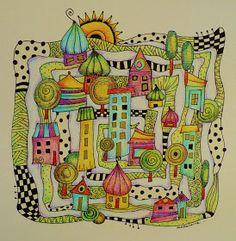 MakeArtBeHappy: Little village zentangle style..