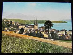 Glass Magic lantern slide LUCERNE NO2 C1900 SWITZERLAND