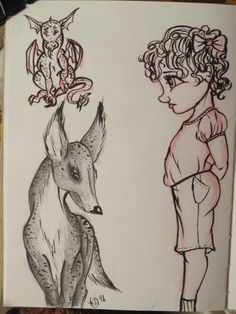 Church doodles by Maggie Rice. Smol dragon, little girl, and a mystical deer thing.