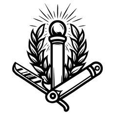 Monochrome Isolated vector illustration by DGIM Studio. Find lots of barbershop designs on www.dgimstudio.com. Hand Holding Tattoo, Hand Holding Rose, Tattoo Salon, Tattoo Studio, Barbershop Design, Tattoo Master, Retro Tattoos, Cat Skull, Antique Keys