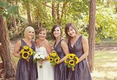 cute sunflowers and bridesmaid dresses