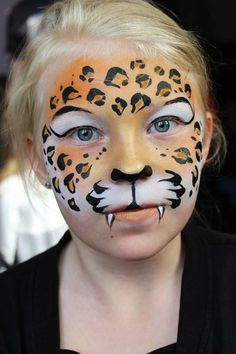 Leopard face painting - ideas for leopard face painting for carnival # . - Leopard face painting – ideas for leopard face painting for carnival # Make-up - Girl Face Painting, Face Painting Designs, Body Painting, Painting Tips, Cheetah Face Paint, Tiger Face Paints, Tiger Face Paint Easy, Little Girls Makeup, Kids Makeup