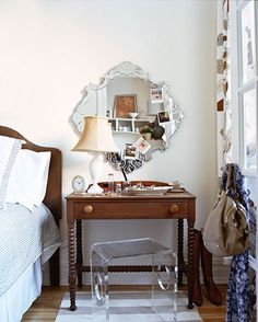 A bedside table doubles as a dressing table.  Must remember this for one day when I have to give up my dressing room.
