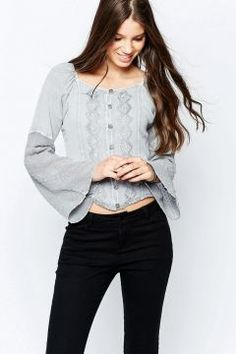 Brave Soul Denim Wash Long Sleeve Top With Embroidered Detail - Grey https://modasto.com/brave-soul/kadin-ust-giyim-gomlek-bluz/br41635ct4