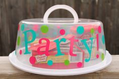 This is so cute for a bridal shower gift with the pans and a big bow--- of course mine will have the initals not PARTY....