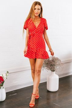 CLICK & BUY :) Beautiful red polka dot V neck short sleeve ruffle mini wrap summer dress