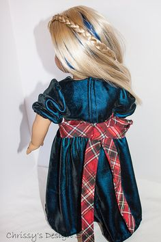 18inch doll velvet Christmas or Holiday by Chrissysdesignshop