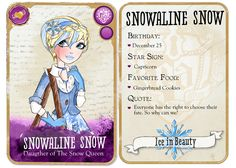 Ever After High Card of Snowaline Snow. EAH goes to Mattel Snowaline design goes to meBase goes to Hakureikai and MandigaO EAH: Snowaline Snow Card Ever After High Names, Ever After High Rebels, Lizzie Hearts, All Disney Princesses, Art Trading Cards, After High School, Raven Queen, Right To Choose, Wallpaper Aesthetic