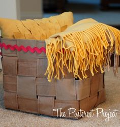 DIY basket made with brown paper bags