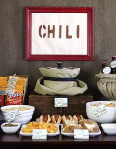 chili bar! include chips, fries, hot dogs, baked potatoes, fritos, cheese, jalepenos, tomatoes, and sour creme. yummy ;)