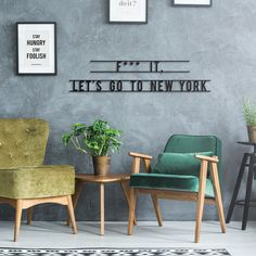 Let's Go To New York sustainable wall sign Go To New York, Wall Signs, Wooden Signs, Letting Go, Sustainability, My House, House Design, Let It Be, Interior