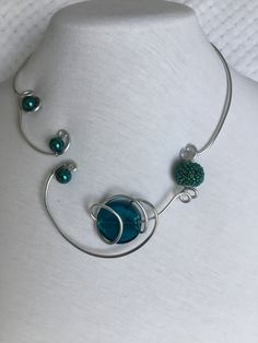 Your place to buy and sell all things handmade Teal Jewelry, Funky Jewelry, Modern Jewelry, Statement Jewelry, Wire Jewelry, Wedding Jewelry, Teal Necklace, Wire Necklace, Bridesmaid Jewelry