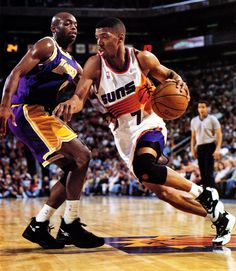 Blindingly quick and possessing the ability to shoot or dish off his drives, Kevin Johnson can be as difficult to defend one-on-one as any point guard in basketball. A three-time All-Star and five-time All-NBA selection, Johnson has provided the spark that has ignited the Phoenix Suns' high-powered attack since 1988-89. Hampered by injuries in his career, Kevin Johnson is often overlooked in the argument of great point guards.