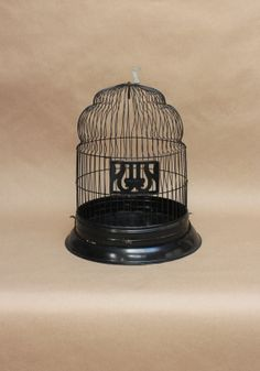 Vintage Black 'Hendryx' Wire Birdcage- Rustic Home Decor