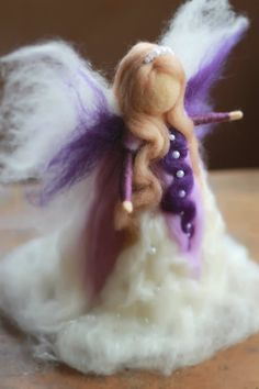 Needle Felted Christmas Tree Top Angel by CloudBerryCrafts on Etsy