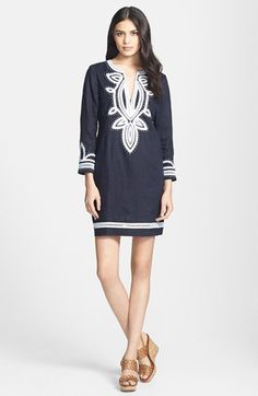Tory Burch 'Odelia' Embroidered Linen Tunic Dress available at #Nordstrom