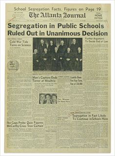 The Atlanta Journal front page: Segregation in Public Schools Ruled Out in Unanimous Decision