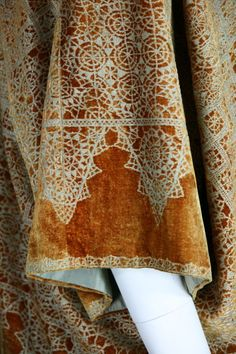 Fortuny Stencil Velvet Jacket, probably 1920's, Gold silk velvet with metallic stencil and silk lining.