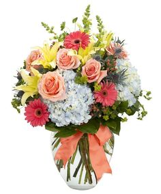 What a terrific color combination to make her day! Morning Mist combines shades of coral, pink, yellow and blue flowers for a stunning bouquet and color palette. It's tied with a coordinating bow, and available for delivery nationwide. #ZeidlersFlowers