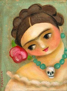 Frida with Day of the Dead Necklace Print