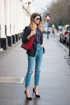 Navy Blazer, striped shirt, ripped mom jeans, black suede court shoes, red Saint Laurent tote bag
