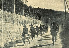Brazilian soldiers advancing into the valley of the Po River