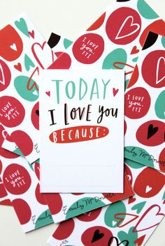 """Today I love you because"" tiny love cards set // Bomisch #valentine"